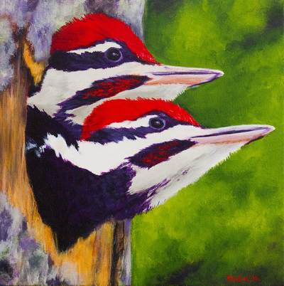 Pileated Woodpeckers (Painting by Debbie Smith)