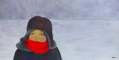 The Red Scarf - Painting by Philippa Borgal